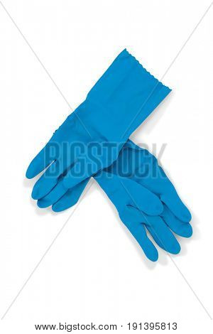 Pair of blue rubber gloves on white background