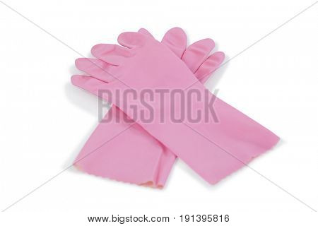 Pair of purple rubber gloves on white background
