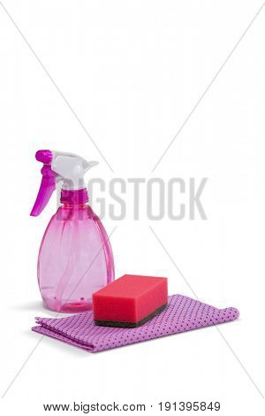 Spray bottle, scouring pad and napkin cloth arranged on white background