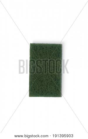 Green scouring pad on white background