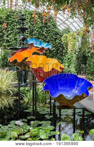 BRONX, NY, USA - JUNE 9, 2017: NY BOTANICAL GARDEN.  Dale Chihuly's art exhibition displayed at NYBG.  Shown here is Macchia Forest displayed inside the Haupt Conservatory.