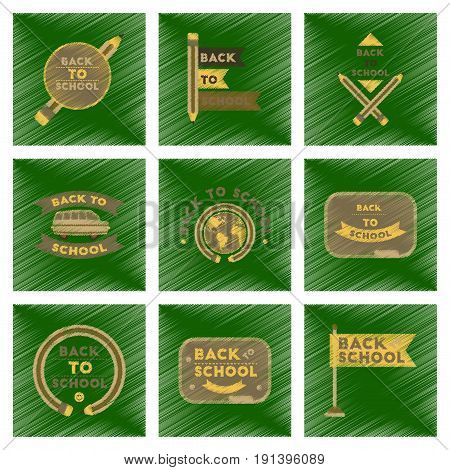assembly flat shading style icons of Back to school pencil Globe bus flag