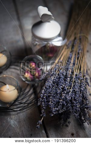 Candles In The Candle Holder, Dried Flowers, Lavender, Glass Jar