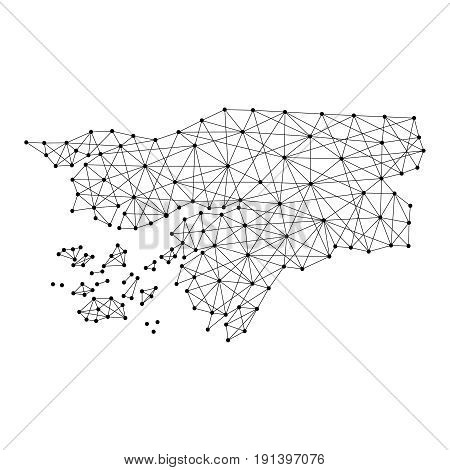 Map of Guinea-Bissau from polygonal black lines and dots of vector illustration