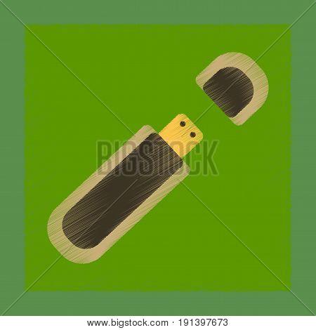 flat shading style icon of flash drive