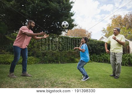 Smiling multi-generation family playing with soccer ball together at park