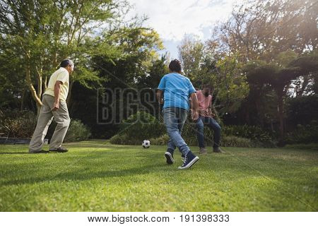Multi-generation family playing soccer together at park