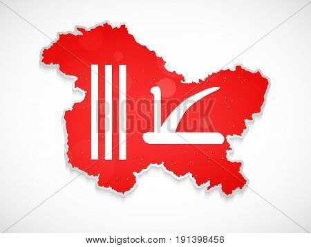 illustration of Jammu & Kashmir map in Kashmir flag background