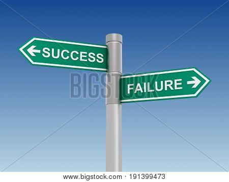 Success Failure Road Sign Concept  3D Illustration