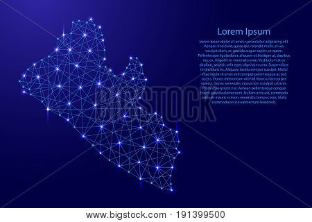 Map of Liberia from polygonal blue lines and glowing stars vector illustration