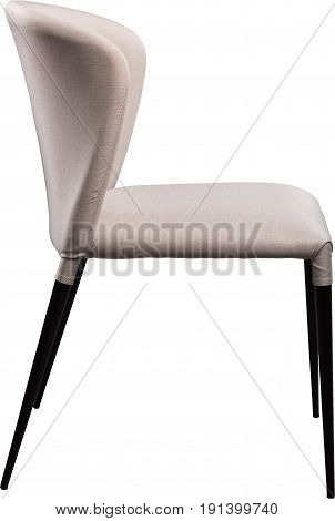 Designer gray office chair on black metal legs. Modern soft chair isolated on white background