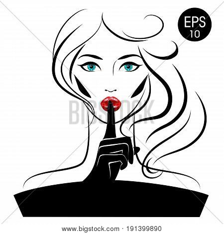 Quiet. Stock vector Woman with blue eyes and pink lips for your design poster