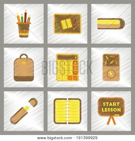 assembly flat shading style icons of office pins notebook calculator board bag usb pencil table