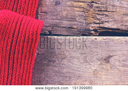 Knitted Plaid, Sweater On Old Wooden Boards