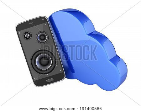 Musical Smartphone Mobile Phone Music App Cellphone And Loudspeakers With Cloud Concept Of Cloud Sto
