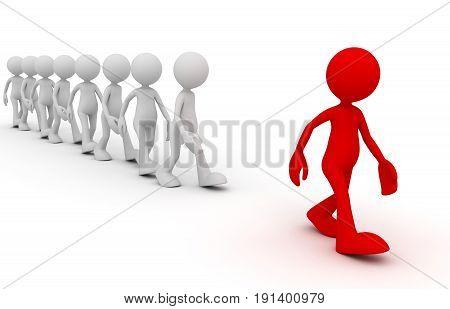 Crowd Following Leader Concept  3D Illustration