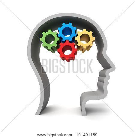 Brain Gears Concept  3D Illustration