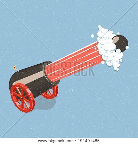 Shooting cannon on wheels. Isometric vector illustration