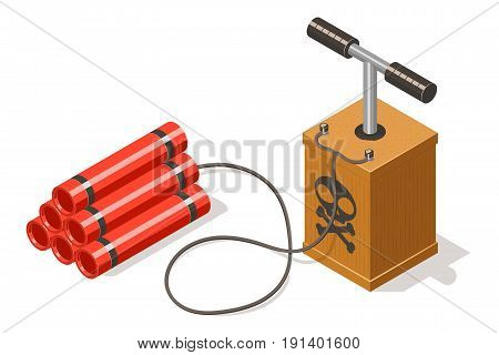 Dynamite bomb and detonator isolated on white background. Isometric vector illustration