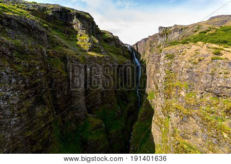 View of the Glymur waterfall in Iceland