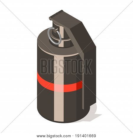 Hand grenade icon isolated on white background. Isometric vector illustration