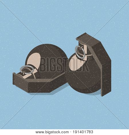 Two hand grenades on blue background. Isometric vector illustration