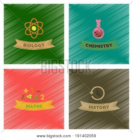 assembly flat shading style icons of school history math biology chemistry lesson