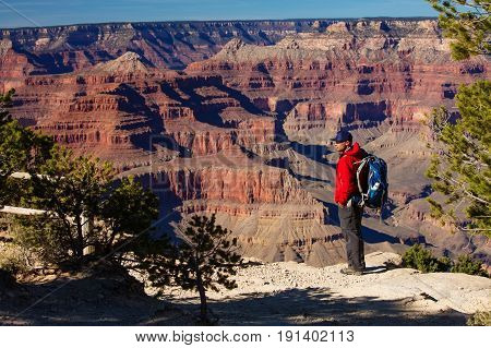 A hiker in the Grand Canyon National Park South Rim Arizona USA