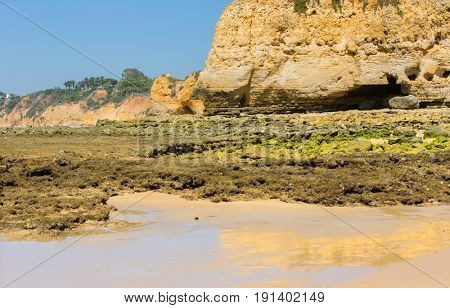 beach of Olhos de Agua in Albufeira. This beach is a part of famous tourist region of Algarve.