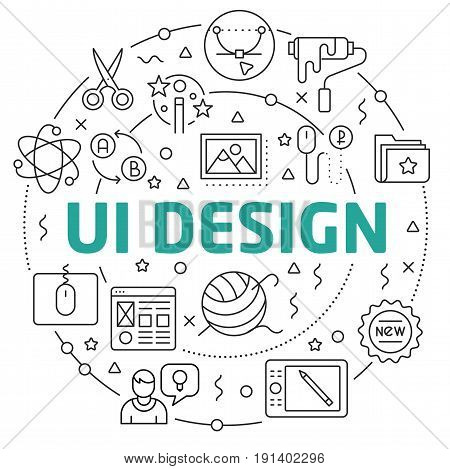 Linear illustration for presentations in the round  ui design