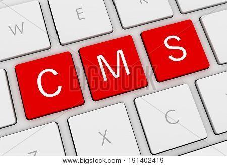 Cms Keyboard Concept  3D Illustration