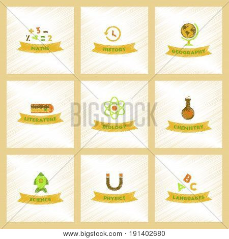assembly flat shading style icons of rocket science geography physics languages history math biology chemistry lesson
