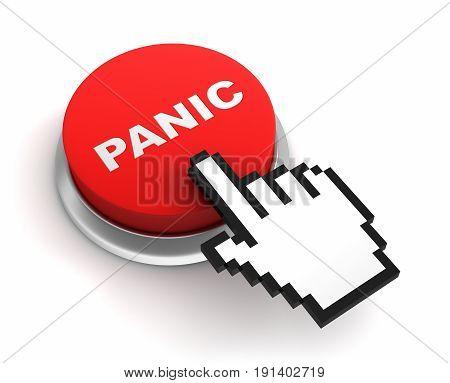 Panic Button Concept  3D Illustration