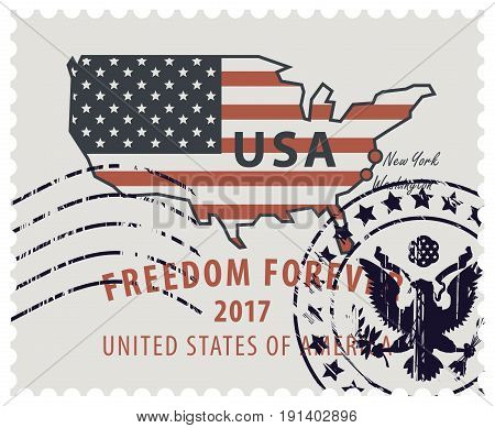 Map of America in colors of the national flag with red inscription freedom forever. Vector illustration of USA postage stamp with a rubber stamp.