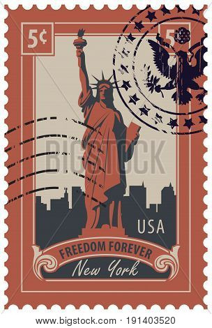 Postage stamp with statue of Liberty in background of New York skyscrapers and the word freedom forever. Vector illustration of a 5-cent USA stamp with a rubber stamp.