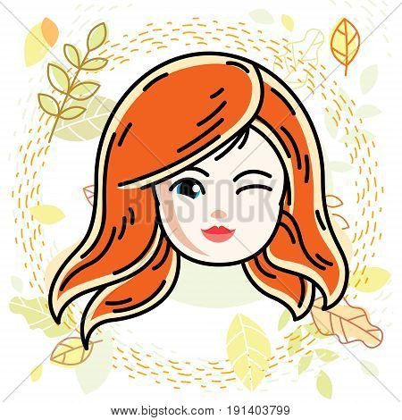 Vector illustration of beautiful red-haired happy girl face positive face features teenager winking. Autumn theme clipart.
