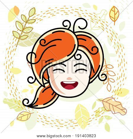 Cute girls face human head. Vector redhead character smiling girl face features.