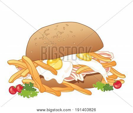 an illustration of a messy sandwich bun with eggs french fries and bacon with tomato and lettuce on a white background