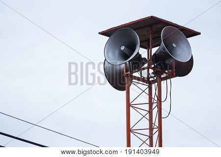 Loudspeaker Amplifier On The Poles In Thailand.