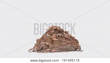 orner of brick wall isolated on white background