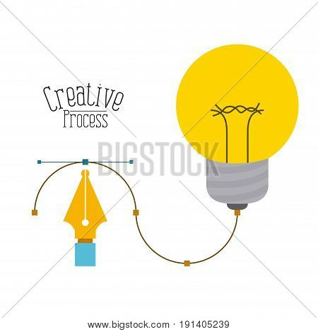 colorful background with fountain pen graphic tool and design light bulb creative process vector illustration
