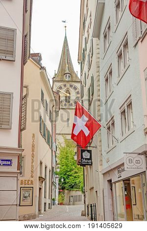 St. Peter Church, Zurich With Swiss Flag