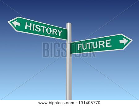 History Future Road Sign 3D Illustration