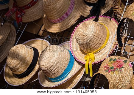 Pretty straw hat with ribbon and bow