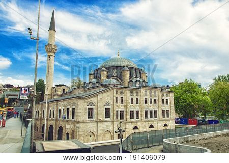 ISTANBUL, TURKEY - MAY 1, 2017: The Sokollu Mehmet Pasha Mosque in the Kadyrga district of the historical district of Fatih in the European part of Istanbul. Named after the great vizier Sokollu Mehmed Pasha