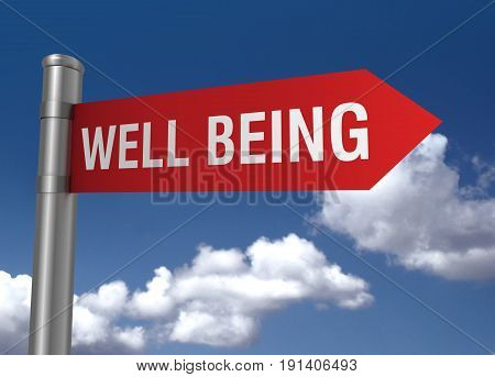 Well Being Road Sign 3D Illustration