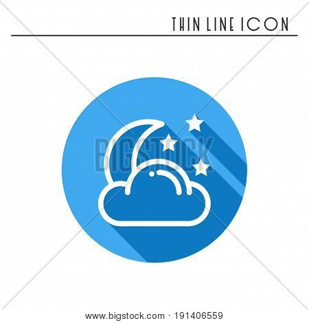 Moon night line simple icon. Weather symbols. Dream, sleep. Design element. Template for mobile app, web and widgets.Vector style linear icon. Illustration. Flat sunlight, sign. Logo