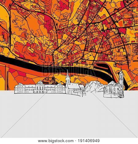 Bratislava Skyline Map
