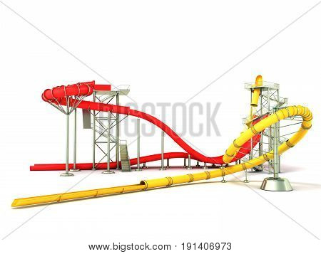 Water Park Water Rides 3D Render On White Background