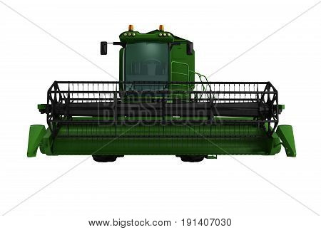Combine Harvester Green 3D Render On Write Background No Shadow